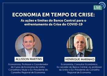 Corecon-CE realizará live sobre economia em tempos de crise