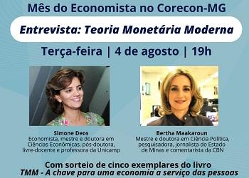Corecon-MG realiza live com entrevista sobre Teoria Monetária Moderna