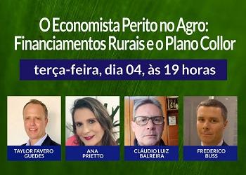 """Corecon-RS realiza live sobre """"O Economista Perito no Agro: Financiamentos Rurais e o Plano Collor"""""""