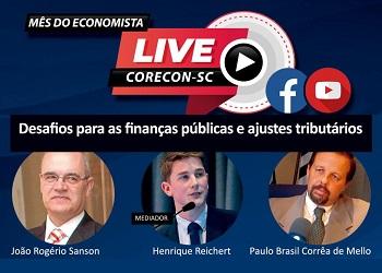 Corecon-SC realiza live nesta terça-feira para discutir desafios para finanças públicas e ajustes tribuários