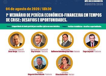 Começa hoje, às 18h30, o 1º Webinário de Perícia Econômico Financeira do Corecon-DF