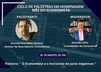 Corecon-SP realiza live nesta terça-feira sobre o horizonte de juros negativos