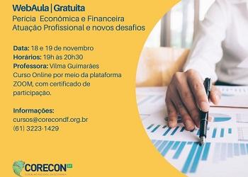 Corecon-DF promoverá web-aula de Perícia Econômico-Financeira, atuação profissional e novos desafios