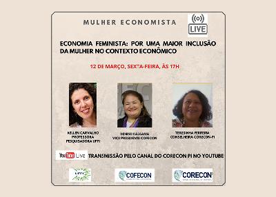 Corecon-PI realizará live sobre Economia feminista