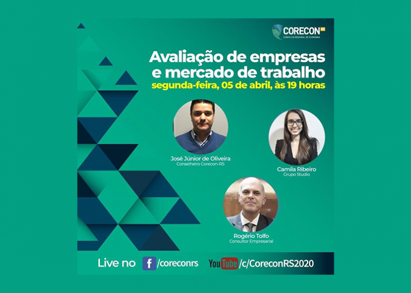 Corecon-RS promove Live sobre avaliação de empresas e mercado de trabalho
