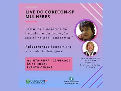Live do Corecon-SP Mulheres sobre o pós-pandemia