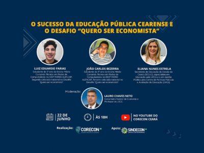 Vencedores do Desafio Quero Ser Economista participarão de live do Corecon-CE
