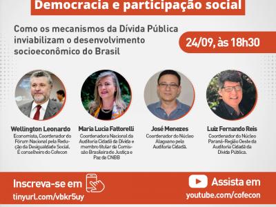 """Fórum Nacional pela Redução da Desigualdade Social promoverá webinário  """"Democracia e participação social"""""""